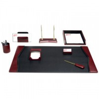 Burgundy Contemporary Leather 8-Piece Desk Set