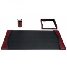 Burgundy Contemporary Leather 3-Piece Desk Set