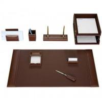 Rustic Brown Leather 10-Piece Desk Set