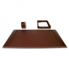 Rustic Brown Leather 3-Piece Desk Set