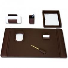 Chocolate Brown Leather 7-Piece Desk Set