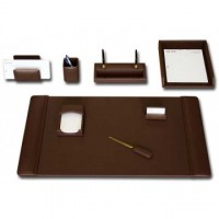 Chocolate Brown Leather 8-Piece Desk Set