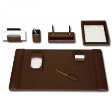 Chocolate Brown Leather 8-Piece Desk Set