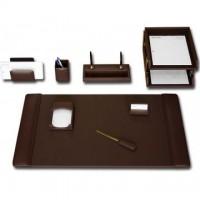 Chocolate Brown Leather 10-Piece Desk Set