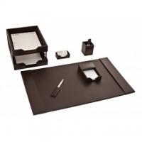 Dark Brown Bonded Leather 8-Piece Desk Set