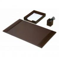 Dark Brown Bonded Leather 3-Piece Desk Set