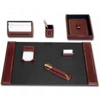 Burgundy Leather 24Kt Gold Tooled 7-Piece Desk Set