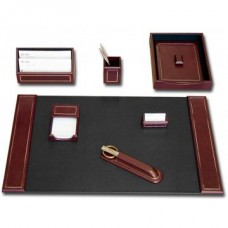 Burgundy Leather 24Kt Gold Tooled 7-Piece Desk Set