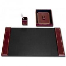 Burgundy Leather 24Kt Gold Tooled 3-Piece Desk Set