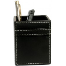 Rustic Black Leather Pencil Cup