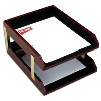 Two-Tone Leather Double Letter Trays