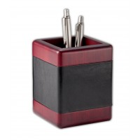 Rosewood & Leather Pencil Cup