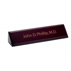 Rosewood & Leather Name Plate