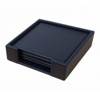 Black Leatherette Square Coaster Set With Stitched Edging