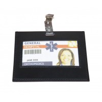 Black Leather ID Badge Holder