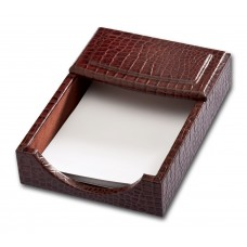 Brown Crocodile Embossed Leather 4″ x 6″ Memo Holder