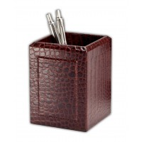 Brown Crocodile Embossed Leather Pencil Cup