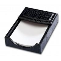 Black Crocodile Embossed Leather 4″ x 6″ Memo Holder