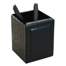 Black Crocodile Embossed Leather Pencil Cup