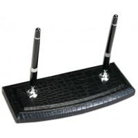 Black Crocodile Embossed Leather Pen Stand