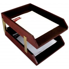 Mocha Leather Double Legal Trays