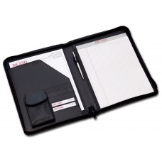 Black Leather Deluxe Letter-Size Zip-Around Portfolio
