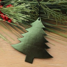 Bonded Leather Holiday/Christmas Tree Ornament – Metallic Green