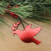 Bonded Leather Holiday Peace Dove Ornament – Metallic Red