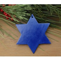 Bonded Leather Holiday Star Ornament – Metallic Blue