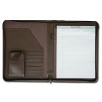 Chocolate Brown Leather Deluxe Letter-Size Zip-Around Portfolio