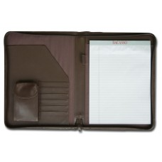 Chocolate Brown Leather Deluxe Zip-Around Portfolio – Legal Size