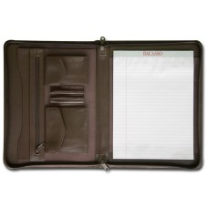 Chocolate Brown Leather Enhanced Zip-Around Portfolio