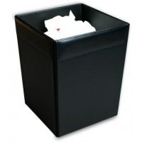 Classic Black Leather Square Waste Basket