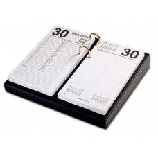 Classic Black Leather 3.5″ x 6″ Calendar Holder with Gold Accents