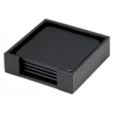 Classic Black Leatherette 4 Square Coaster Set with Holder