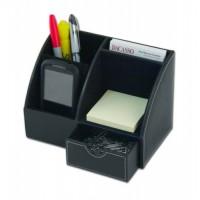 Classic Black Leather Desktop Organizer