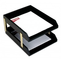 Classic Black Leather Front-load Letter Trays with Gold Stacking Posts