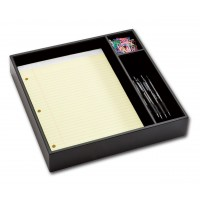Classic Black Leather Conference Room Organizer Tray