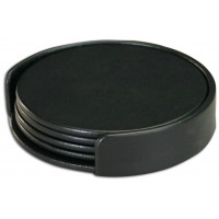 Classic Black Leather Round Coaster Set