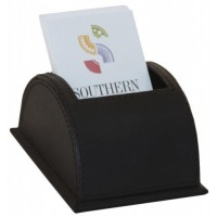 Classic Black Leather Vertical Business Card Holder
