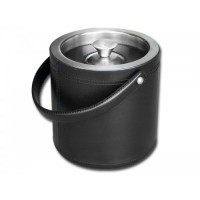 Classic Black Leather Ice Bucket