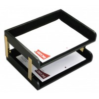 Classic Black Leather Double Side-Load Letter Trays with Gold Posts