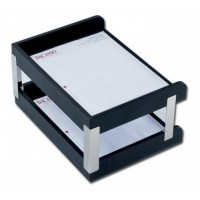 Classic Black Leather Double Side-Load Letter Trays with Silver Posts