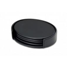 Classic Black Leather Oval Coaster Set with Holder