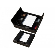 Classic Black Leather Enhanced Conference Room Organizer