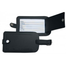 Classic Black Leather Luggage Tag