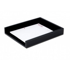 Rustic Black Leather Letter Tray