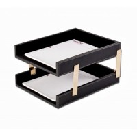 Rustic Black Leather Double Stacking Trays