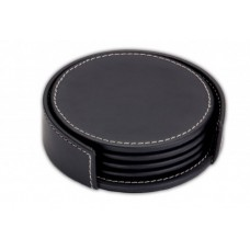 Rustic Black Leather Coaster Set with Holder
