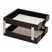 Black Bonded Leather Double Letter Trays